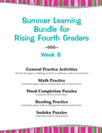 Summer Learning Bundle for Rising Fourth Graders - Week 6