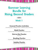 Summer Learning Bundle for Rising Second Graders - Week 1