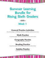 Summer Learning Bundle for Rising Sixth Graders - Week 1