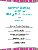 Summer Learning Bundle for Rising Sixth Graders - Week 2