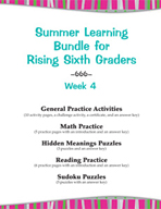 Summer Learning Bundle for Rising Sixth Graders - Week 4
