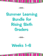 Summer Learning Bundle for Rising Sixth Graders - Weeks 1-6