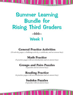 Summer Learning Bundle for Rising Third Graders - Week 1