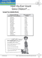 Syllable Awareness: Blending Syllables into Words - Have You Heard Some Children?
