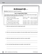 Test Prep Level 1: An Astronaut's Life Comprehension and Critical Thinking