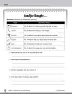 Test Prep Level 1: Food for Thought Comprehension and Critical Thinking