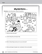 Test Prep Level 1: Why Kids Pitch In Comprehension and Critical Thinking