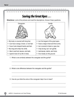 Test Prep Level 2: Saving the Great Apes Comprehension and Critical Thinking