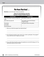 Test Prep Level 2: The Paws That Heal Comprehension and Critical Thinking