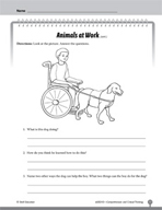 Test Prep Level 3: Animals at Work Comprehension and Critical Thinking