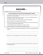 Test Prep Level 3: Back in Orbit Comprehension and Critical Thinking