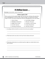 Test Prep Level 3: It's Asthma Season Comprehension and Critical Thinking