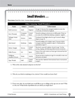 Test Prep Level 3: Small Wonders Comprehension and Critical Thinking