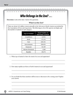 Test Prep Level 3: Who Belongs in the Zoo? Comprehension a