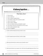 Test Prep Level 4: A Subway Superhero Comprehension and Critical Thinking
