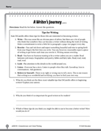 Test Prep Level 4: A Writer's Journey Comprehension and Critical Thinking