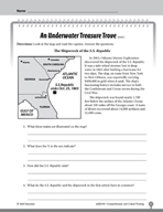 Test Prep Level 4: An Underwater Treasure Comprehension and Critical Thinking