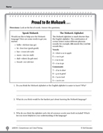 Test Prep Level 4: Proud to Be Mohawk Comprehension and Critical Thinking
