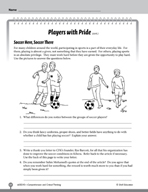 Test Prep Level 5: Players with Pride Comprehension and Critical Thinking