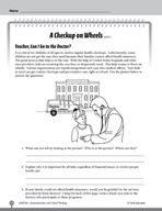 Test Prep Level 6: A Checkup on Wheels Comprehension and Critical Thinking