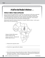 Test Prep Level 6: End Darfur's Violence Comprehension and Critical Thinking