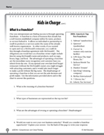 Test Prep Level 6: Kids in Charge Comprehension and Critical Thinking