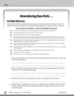 Test Prep Level 6: Remembering Rosa Parks Comprehension and Critical Thinking