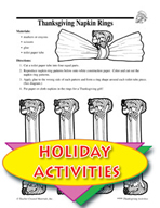 Thanksgiving Napkin Rings and Other Art Activities