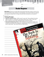 The Dark Is Rising Reader Response Writing Prompts (Great