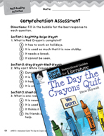 The Day the Crayons Quit Comprehension Assessment (Great W