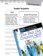 The Day the Crayons Quit Reader Response Writing Prompts (Great Works Series)