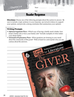 The Giver Reader Response Writing Prompts (Great Works Series)