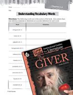 The Giver Vocabulary Activities (Great Works Series)