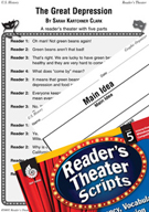 The Great Depression Reader's Theater Script and Lesson