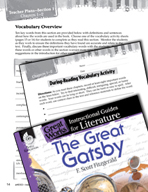 The Great Gatsby Vocabulary Activities (Great Works Series)