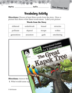 The Great Kapok Tree Vocabulary Activities (Great Works Series)