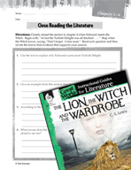 The Lion, the Witch and the Wardrobe Close Reading and Text-Dependent Questions (Great Works Series)