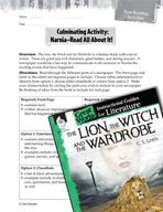 The Lion, the Witch and the Wardrobe Post-Reading Activities (Great Works Series)