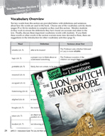 The Lion, the Witch and the Wardrobe Vocabulary Activities (Great Works Series)