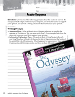 The Odyssey Reader Response Writing Prompts (Great Works Series)