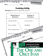The One and Only Ivan Vocabulary Activities (Great Works Series)