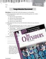 The Outsiders Comprehension Assessment (Great Works Series)