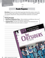 The Outsiders Reader Response Writing Prompts (Great Works