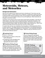 The Solar System Inquiry Card - Meteoroids, Meteors, and Meteorites
