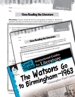 The Watsons Go to Birmingham - 1963 Close Reading and Text-Dependent Questions (Great Works Series)