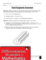 Tiered Geometry Assignment - Rectangular Prisms, Cylinders