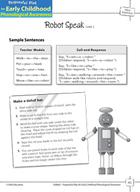 Word Awareness: Blending Words into Sentences  -  Robot Speak