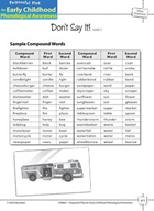 Word Awareness: Deleting Words in Compound Words - Don't Say It!