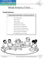 Word Awareness: Segmenting Sentences - Words Around a Circle