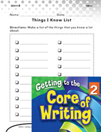 Writing Lesson Level 2 - Things I Know List